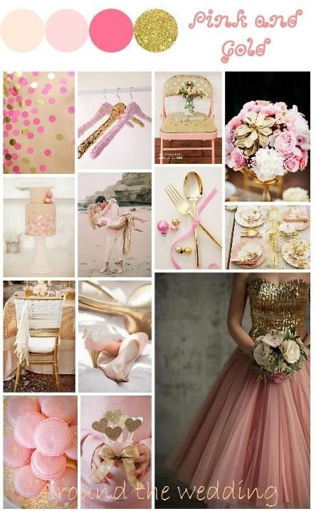 Tableau d'inspiration couleur Rose et Doré Mood Board pink and gold http://www.around-the-wedding.blogspot.be