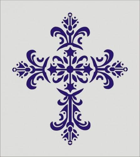 Stencil, decorative cross, religious church 7 x 8 | Oklahomastencilcompany - Handmade Supplies on ArtFire