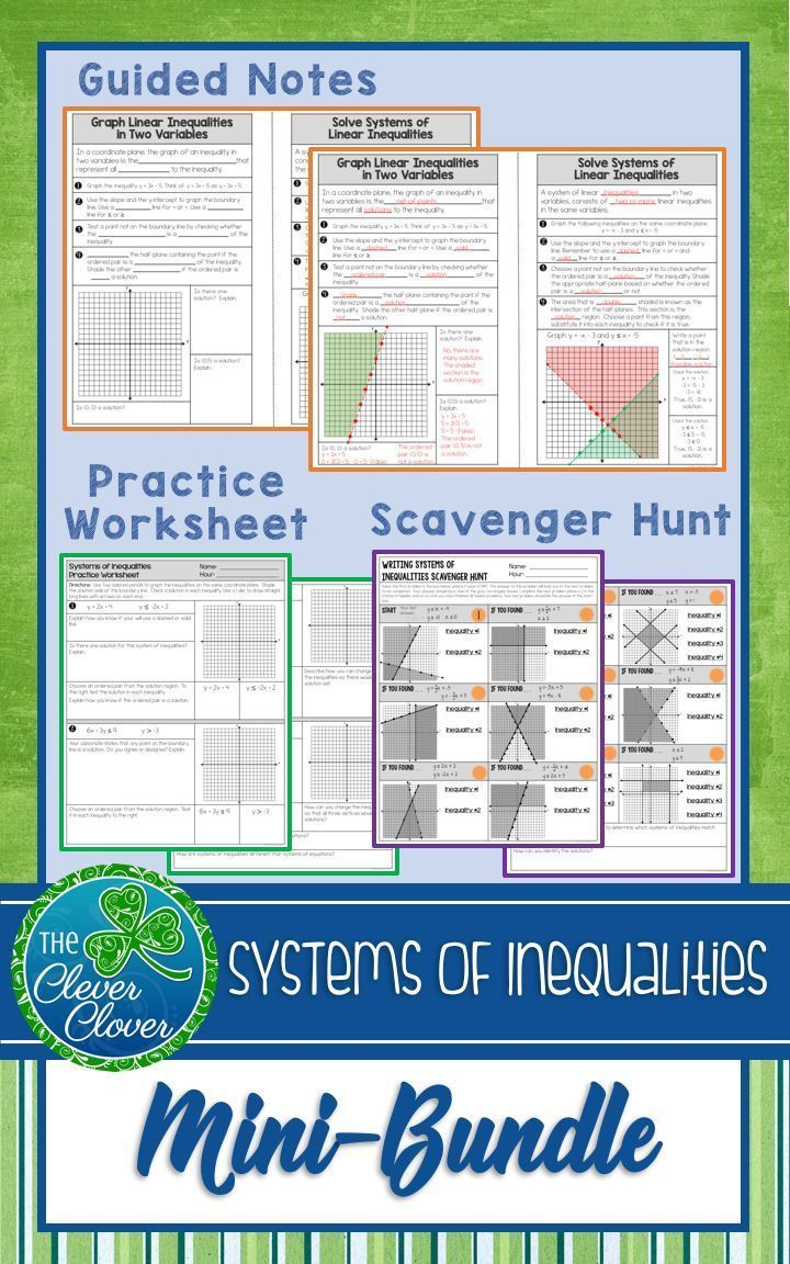 Systems Of Inequalities Guided Notes Worksheets And A Scavenger Hunt Graphing Inequalities Writing Inequalities Graphing Linear Inequalities