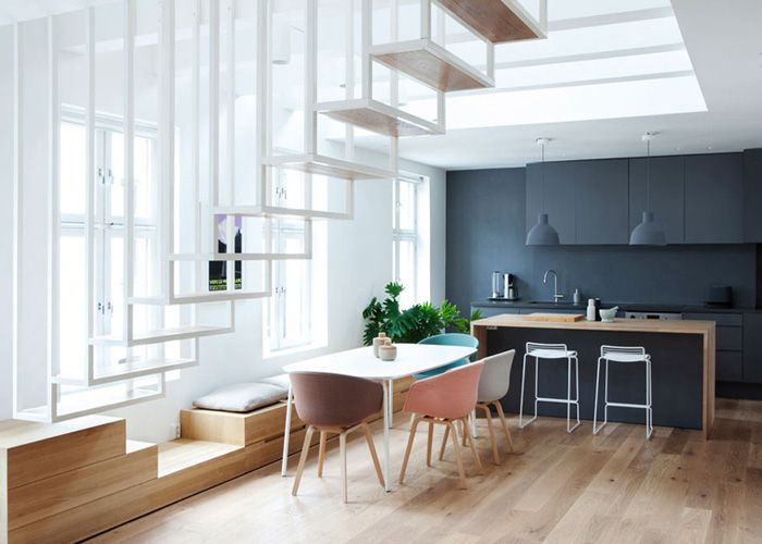 Escalier suspendu architecture contemporaine
