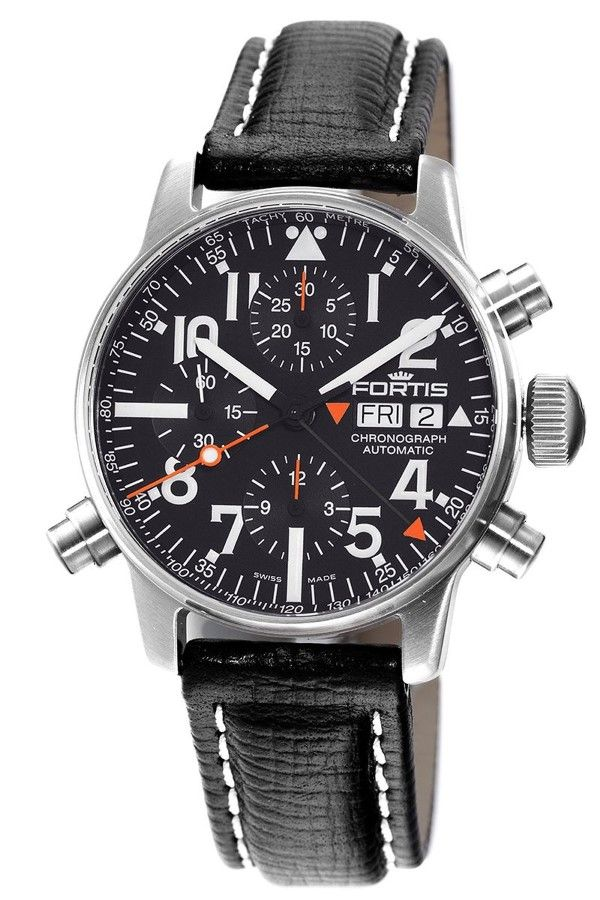 Men's watches Fortis 627.22.31 L.01 Men's Spacematic Alarm Chronograph Black Dial Watch