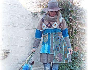 Recycelte Kleid Jumper Tunika Hoodie hübsch Argyle heidnischen rustikale Folk gemütliche wolle Cashmere Applique Upcycled Eco Kleidung tragbare Kunst Small Medium