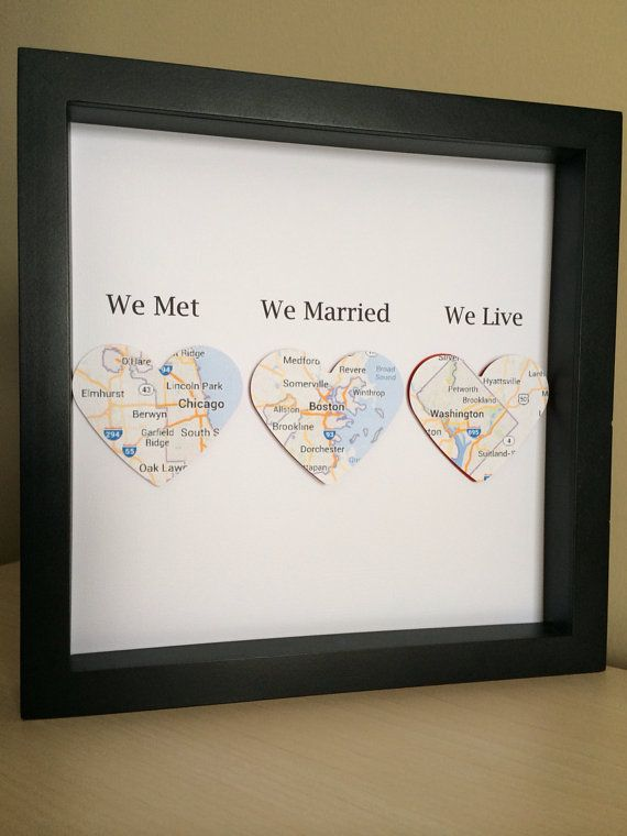 Map heart paper art in shadow box frame we met we married we map heart paper art in shadow box frame we met we married we live wedding gift paper anniversary personalized gift valentines day pinterest 3d solutioingenieria Images