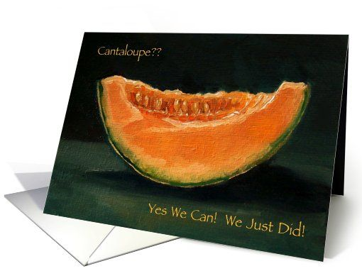 Elopement Announcement: Painting of Cantaloupe: Pun, Funny, Humor card...so cute