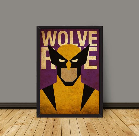 Vintage Minimalist Wolverine Poster A3 Prints by MyGeekPosters, $20.00