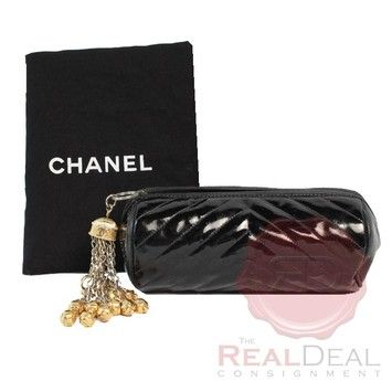 Chanel Auth Rare Vintage Cc Leather Tassel Black Clutch 71% off retail