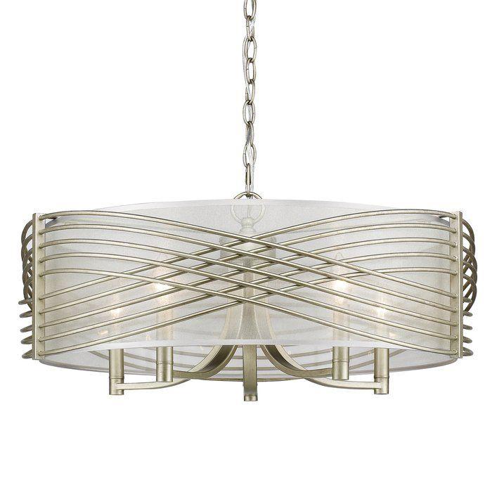 Golden Lighting Zara 5 Light White Gold Chandelier with