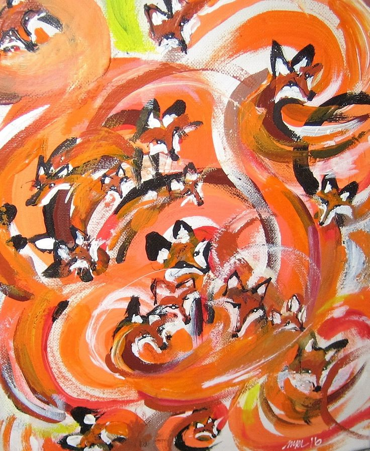 Tail on fire. Fox painting. acryl.