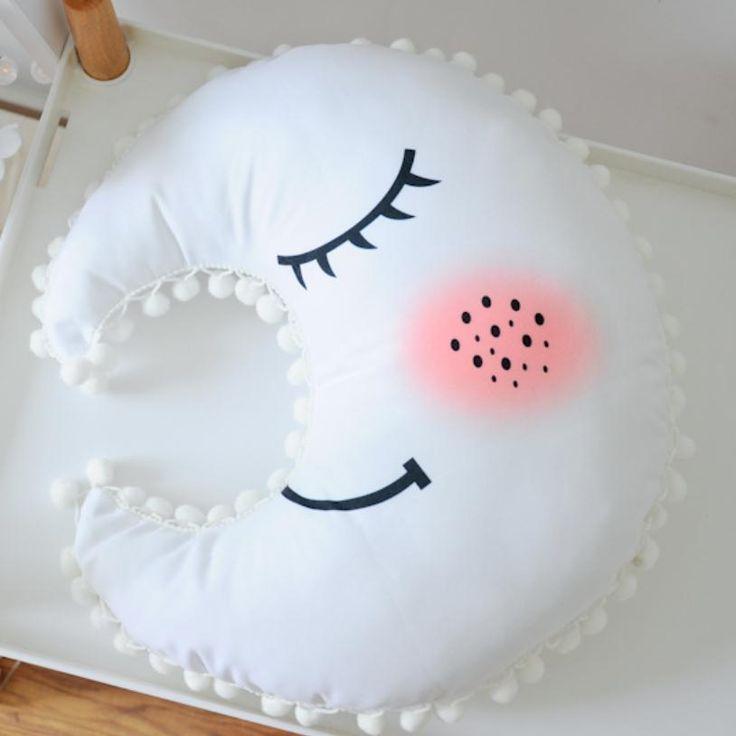 Sleepy Moon Pillow for baby nursery