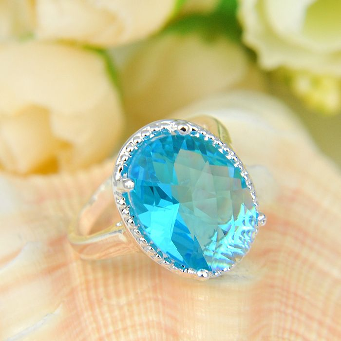 Newest Oval Crystal Fire Sky Blue Created Topaz Silver Plated Wedding Jewelry  Rings Russia Rings Australia Rings