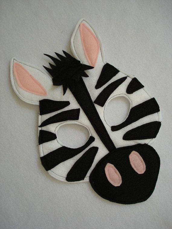 Children's ZEBRA Felt Animal Mask by magicalattic on Etsy, $12.50