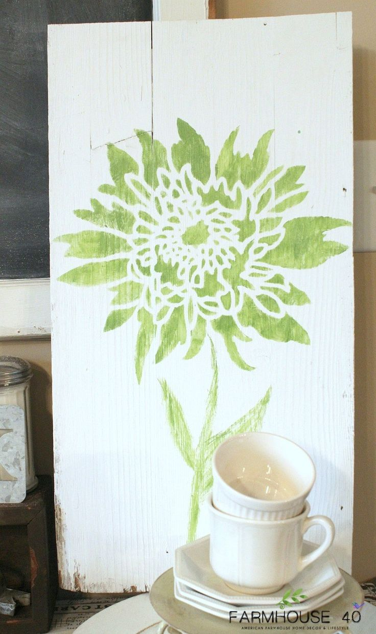 217 best flower stencils decor images on pinterest flower diy stenciled wall art using wood and the chrysanthemum grande flower stencil from cutting edge stencils amipublicfo Image collections