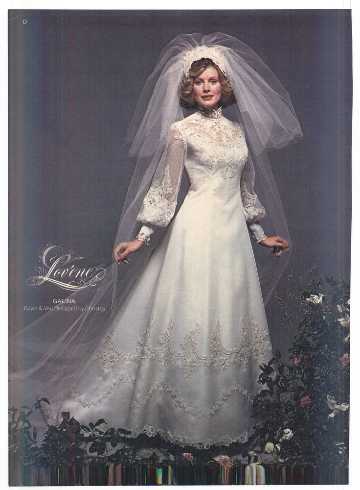 1975 Brides Magazine 1970s wedding dress, Wedding gowns