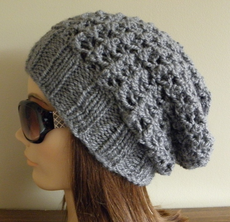 Slouchy Hat Knitting Patterns : PDF Knitting Pattern - Knit Slouchy Hat / Latissa