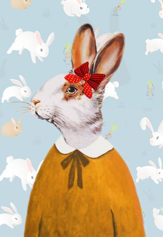 Nursery Animal painting portrait painting  Giclee Print Acrylic Painting Illustration Rabbit Print wall art wall decor Wall Hanging  Lady Rabbit