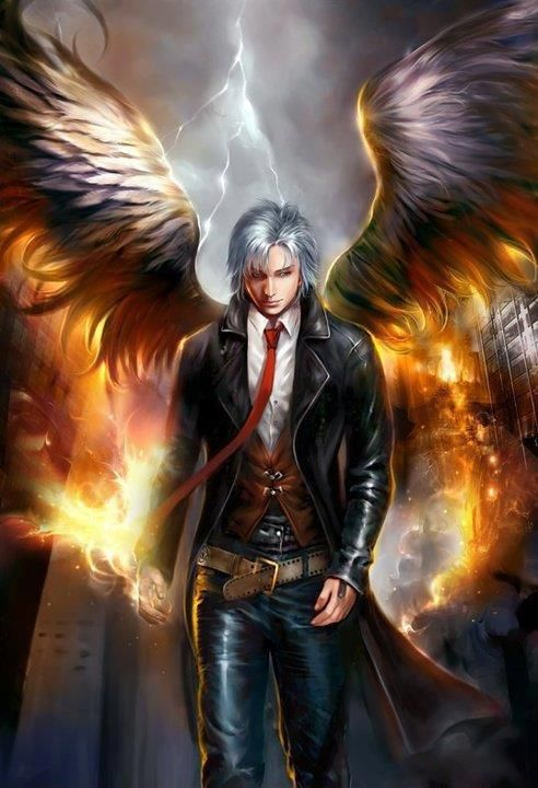Things are on fire. The belt is undone. The tie is too long. The clothing is wonderful. The wings are possibly too small to fly with. But I think I want to meet this angel.