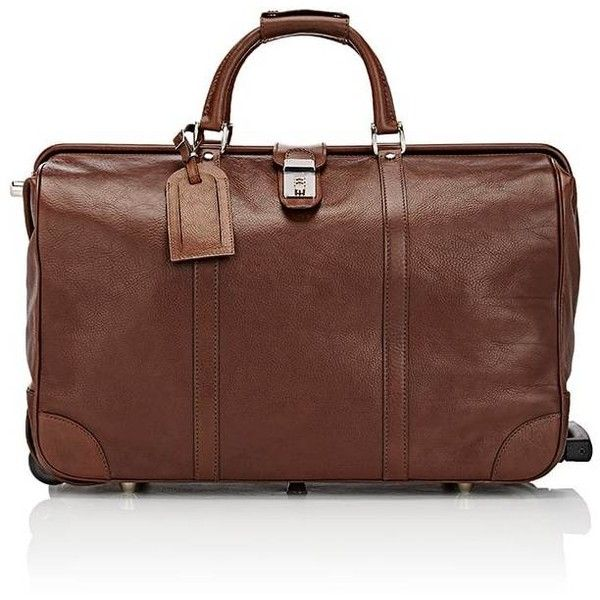 """T. Anthony Men's 22\"""" Rolling Duffel Bag (103.400 RUB) ❤ liked on Polyvore featuring men's fashion, men's bags, brown, mens leather duffle bag, mens leather duffel bag, mens leather bag, mens duffle bags and mens bag"""