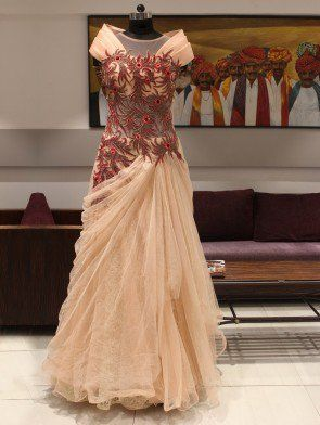 Light Pink Net Gown with Handwork