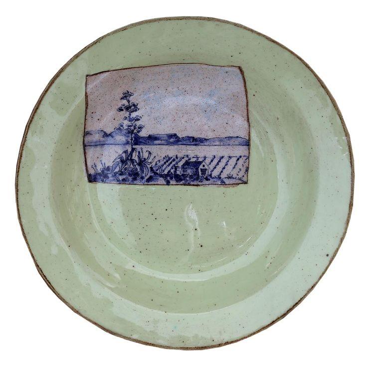 An original ceramic work by Lisa Ringwood entitled: 'Karoo Plate VI', ceramic, d 24cm For more please visit www.finearts.co.za #ceramic #LisaRingwood #Ceramicist #SouthAfricanArt #SouthAfricanArtist #ChineseCeramics #InteriorDesign #Decor #Decoration #Landscape #Fauna #Flora #Birdlife #VOCware #Karoo