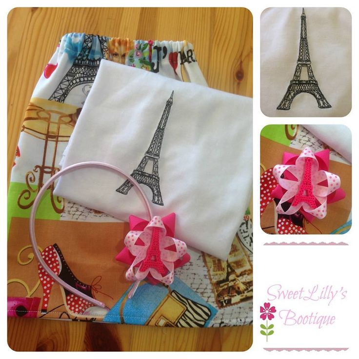 Handmade by Sweet Lilly's Bootique Boo! skirt with an embroidered Eiffel tower shirt. Included is a Eiffel tower headband