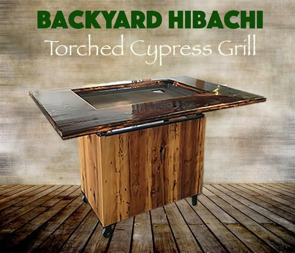 Hand made in South Louisiana, this torched beautiful cypress hibachi grill is…