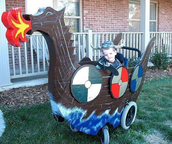 Disfraces para niños en silla de ruedas: Barco vikingo