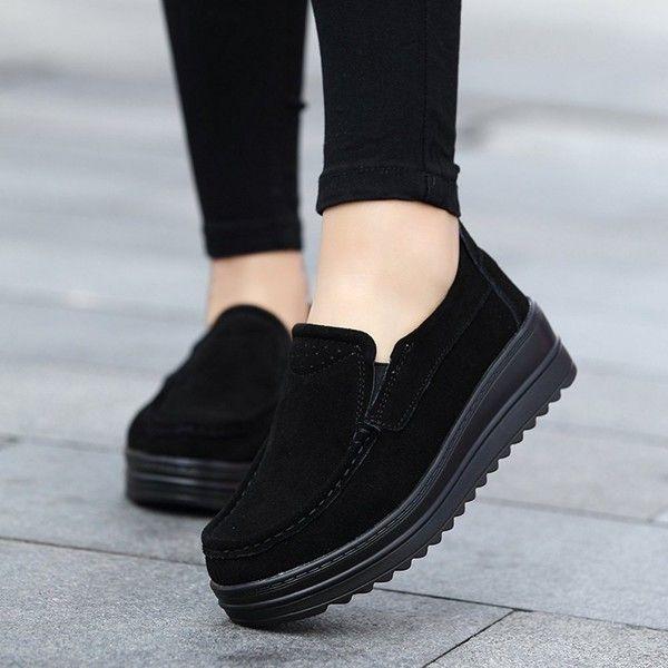 black platform slip on