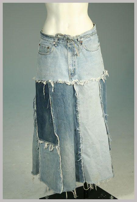 hippy denim skirts | ... about Vintage LEVIS Jeans Quilted Denim Patchwork Hippie Skirt L