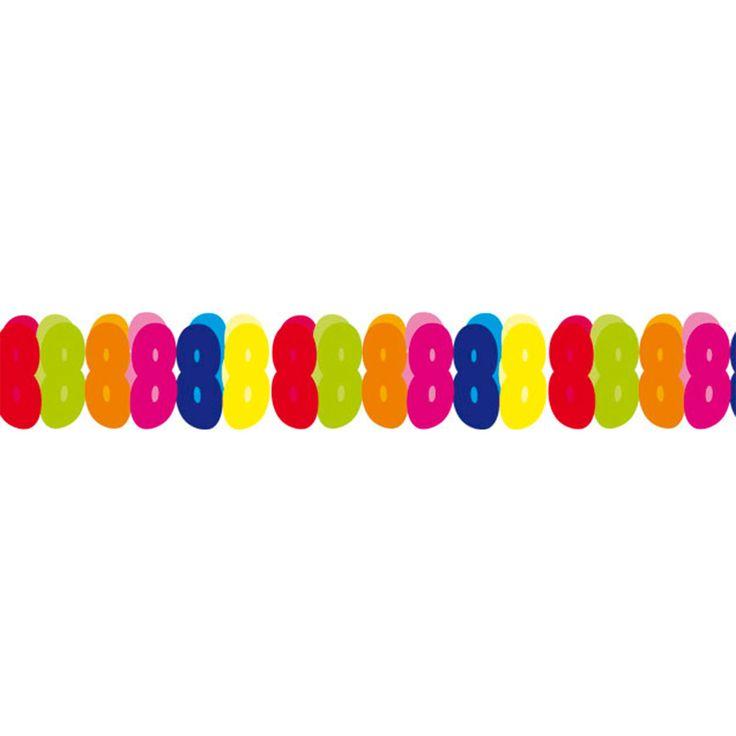 Gekleurde brandvertragende papieren slinger guirlande met het cijfer 8. Afmeting: lengte 6 meter - Papieren Slinger - 8 jaar