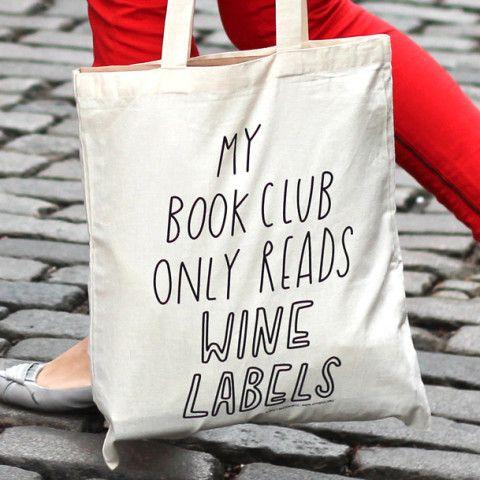 Book (Wine) Club Tote Bag