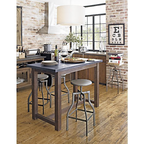 Turner Gunmetal Adjustable Backless Bar Stools And Linen Cushion Dining Tab