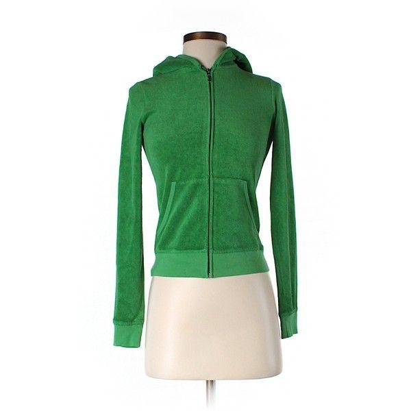 Pre-owned Juicy Couture Zip Up Hoodie ($17) ❤ liked on Polyvore featuring tops, hoodies, dark green, juicy couture hoodie, green top, juicy couture hoodies, green hooded sweatshirt and dark green top