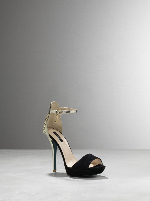 http://patriziape.pe/Zw5DC5  Heels sandals, in nappa calfskin, with metal stud detailing, ankle tie and buckle, Fly with charm Patrizia Pepe, on the right one only, 120mm heel