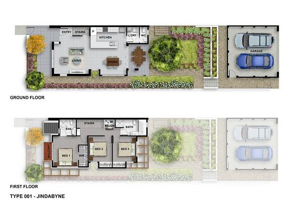 Real Estate Floor Plans Full Color Individuals created by Pavel Vrzala.  Project Googong - new residential development in Canberra, Australia.