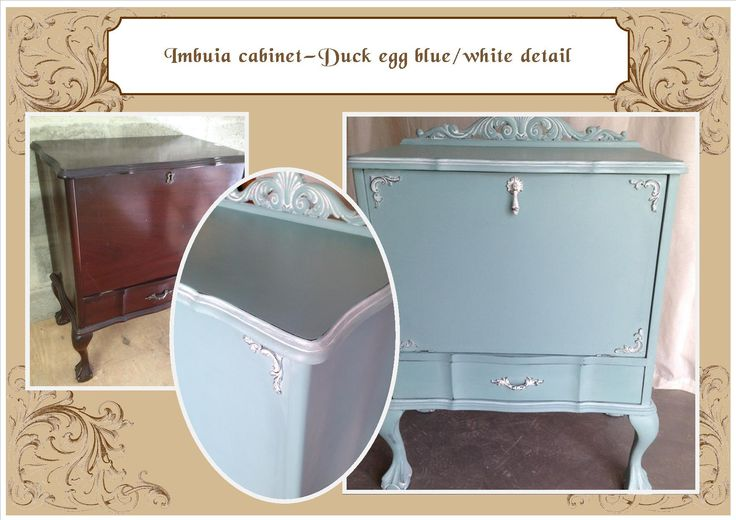 Antique filing cabinet - light blue with white highlights
