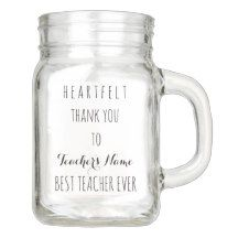 Heartfelt Thank You Best Teacher Ever Typography Mason Jar