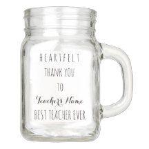 Heartfelt Thank You Best Teacher Ever Typography Mason Jar