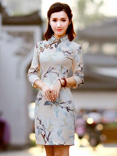 Champagne Floral Qipao / Cheongsam Dress with Half Sleeves