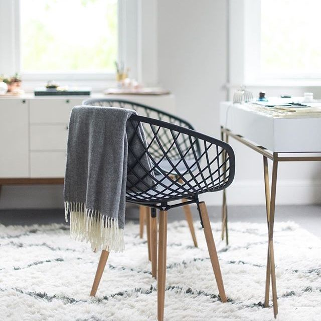 High-tech construction meets classic modern design. Made-in-Italy, sleek molded plastic sculpts a woven crosshatch pattern on tapered solid ash wood legs. Light/medium brown stain warms up the matte black frame for an updated Scandi feel. Super roomy seat pulls up perfectly as head dining chair or desk chair. Sits perfectly as a side chair, too.