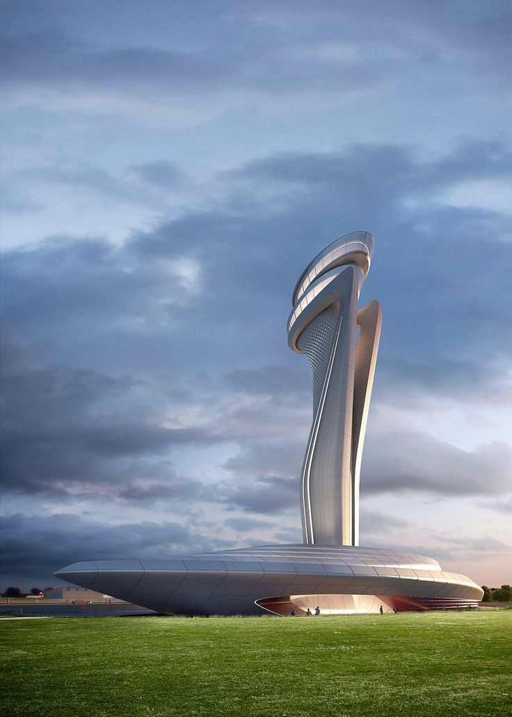Rendering of Pininfarina + AECOM's winning design for the Istanbul New Airport traffic control tower. Image courtesy of Pininfarina.