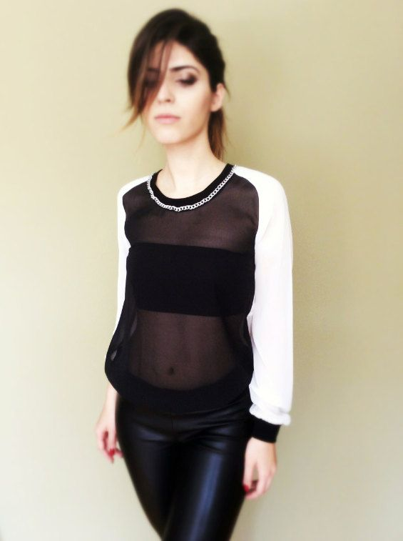 Black and white transparent blouse with metal chain by pookadesign #chain #blackandwhite #blouse #etsy