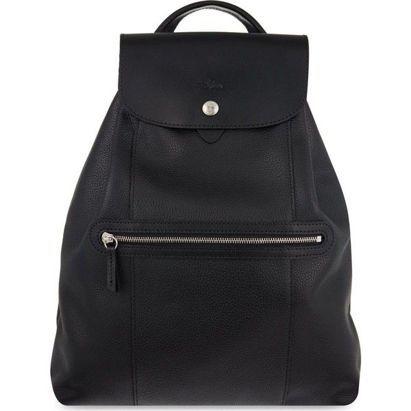 LONGCHAMP Le Foulonne leather backpack (23.155 RUB) ❤ liked on Polyvore featuring bags, backpacks, black, handle bag, flap backpack, backpack bags, longchamp rucksack and leather knapsack