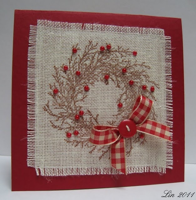 stamped wreath on linen, sewn onto cardstock