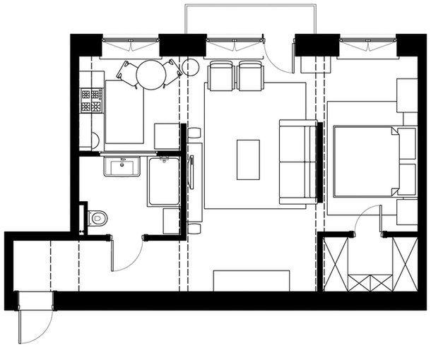 Стильная небольшая квартира 45м2 с открытой планировкой - Дизайн интерьеров   Идеи вашего дома   Lodgers