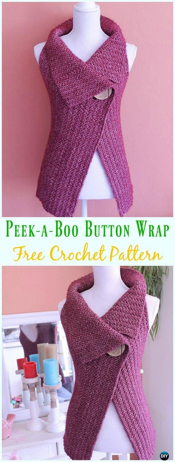 Crochet Peek-a-Boo Button Wrap Free Pattern - #Crochet; Women #Vest; Free Patterns
