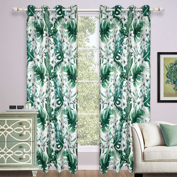 Moderne Vorhang Grüne Blätter Für Wohnzimmer 1er Printed Curtains Curtains Living Room Bedroom - Ikea Vorhänge Grüne Blätter