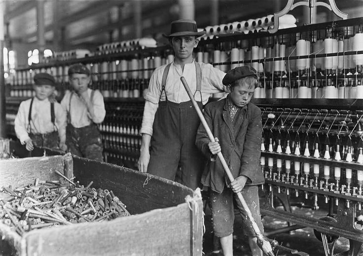 Industrial Revolution. Children working in a cotton mill.