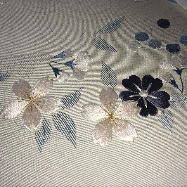 シベまで 明日は花粉〜 #日本刺繍 #Japanese Embroidery #桜