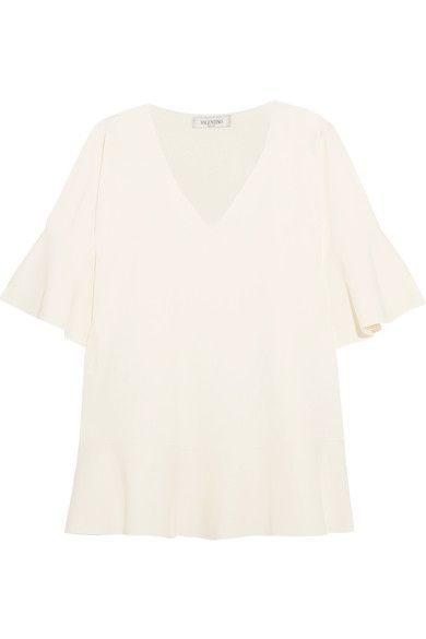 Valentino - Stretch-crepe Top - Ivory - x large