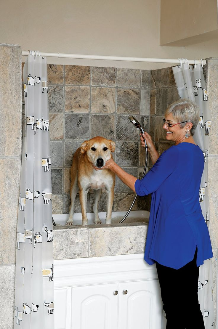 Andalman (pictured) elevated a shower in the garage (and added steps on the side) so she doesn't have to hunch over to bathe her dog.